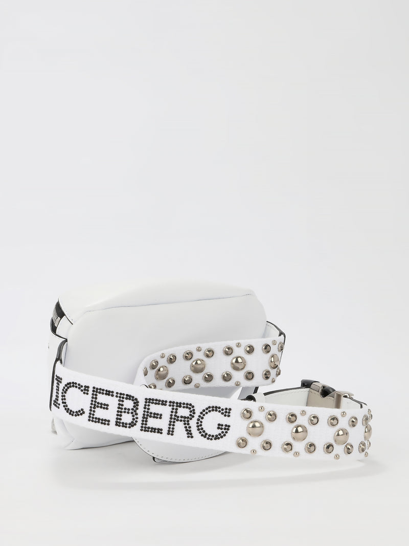 White Studded Strap Leather Belt Bag