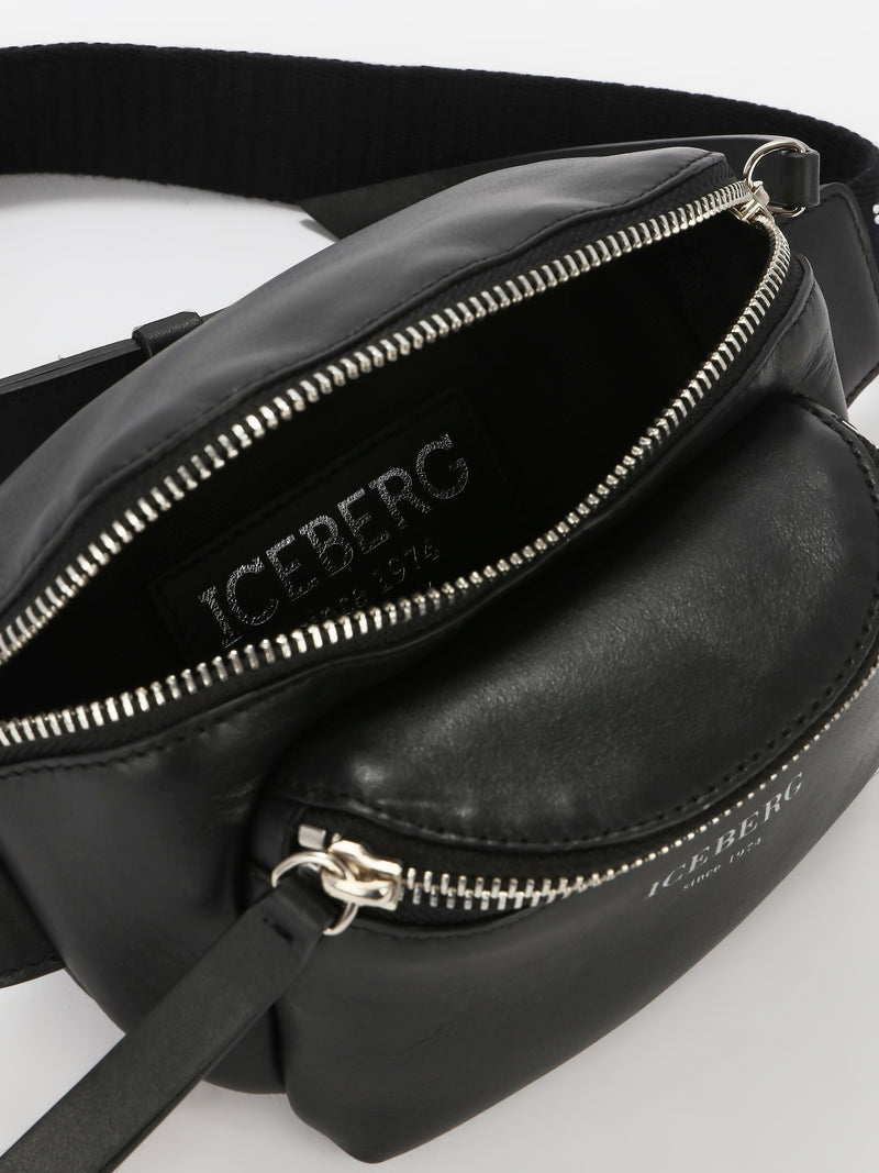 Black Studded Strap Leather Belt Bag