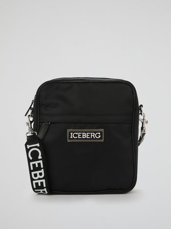 Black Logo Strap Crossbody Bag
