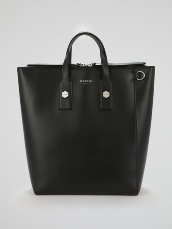 Black Tote Style Leather Bag
