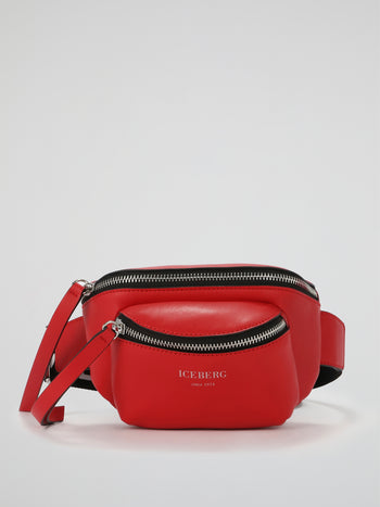 Red Leather Logo Strap Belt Bag