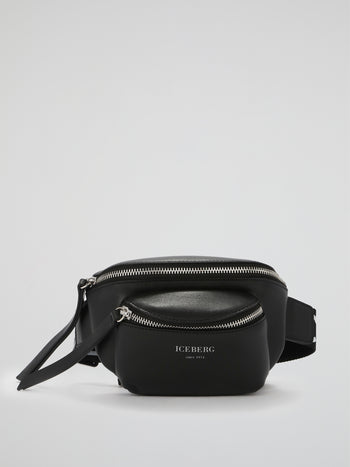 Black Leather Logo Strap Belt Bag