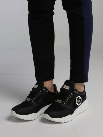 Black Crystal Monogram Mesh Panel Sneakers