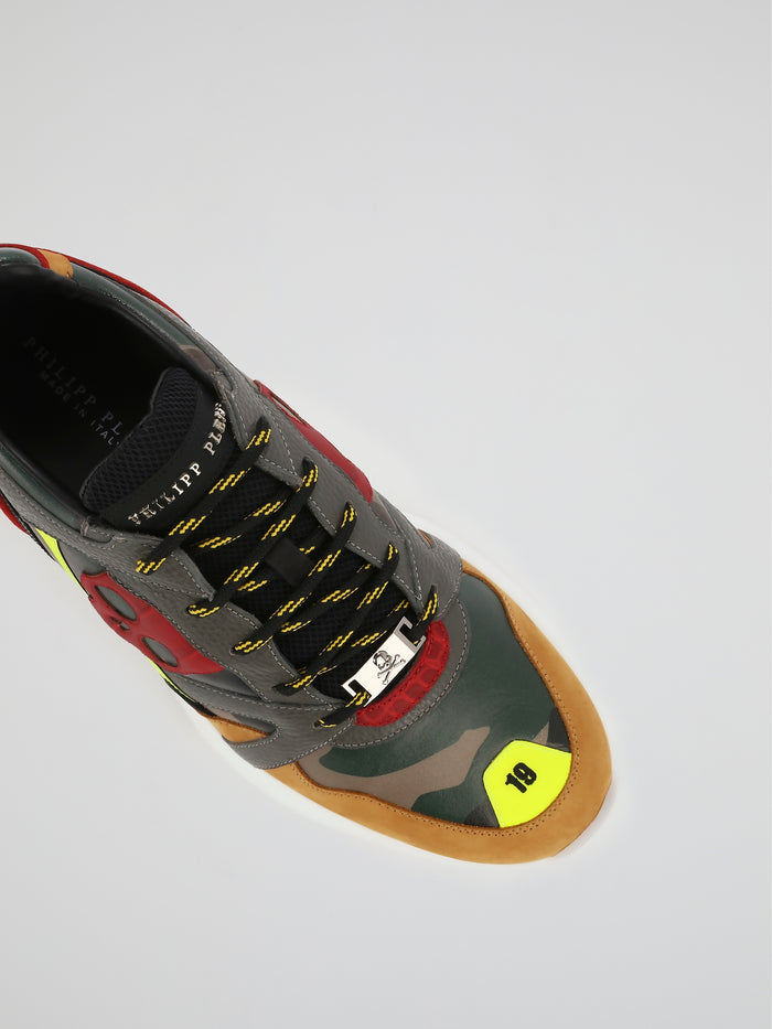 Runner PP1978 Camo Panel Skull Sneakers