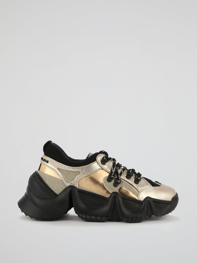 Runner Crystal Gold Chunky Sneakers