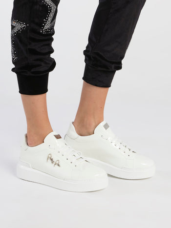 White Patent Leather Platform Sneakers