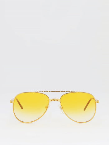 Yellow Gradient Mirror Lens Sunglasses