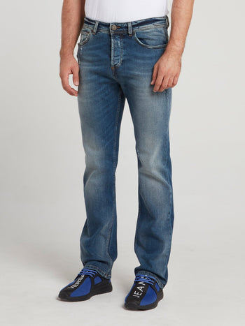 Blue Distressed Straight Cut Denim Jeans