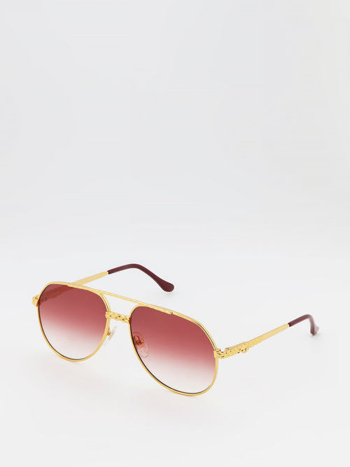 Burgundy Gradient Aviator Sunglasses