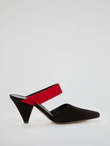 Seven Black and Red Suede Mules