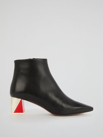 The Alpha Black Leather Ankle Boots