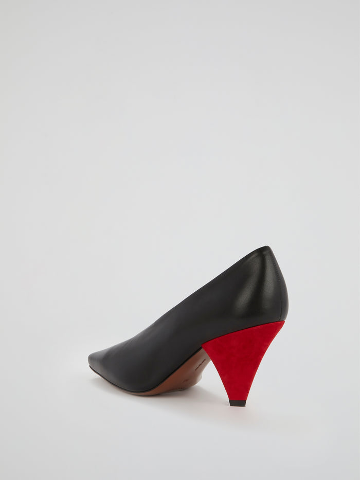 Aunty Black Leather Triangle Heel Pumps