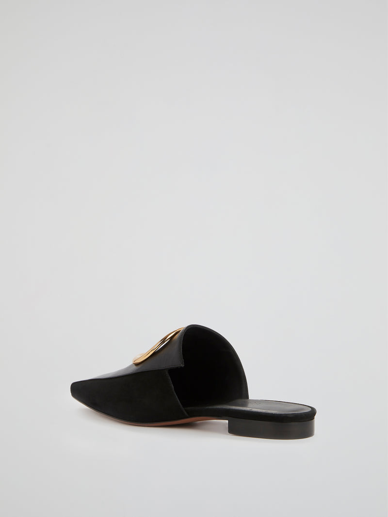 Phaius Black Leather Ring Mules