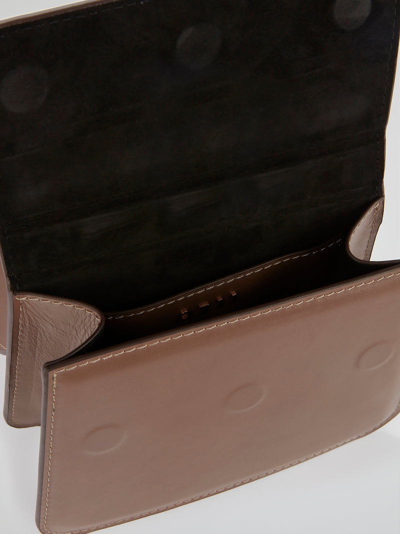 Brown Lou Ball Handle Flap Purse