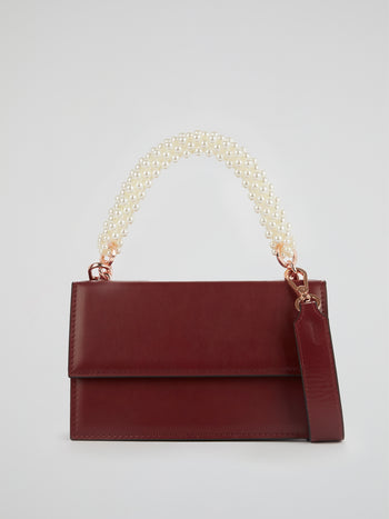 Burgundy Ada Pearl Beaded Handle Flap Purse
