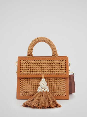 Brown Copa Pearl Embellished Tassel Purse