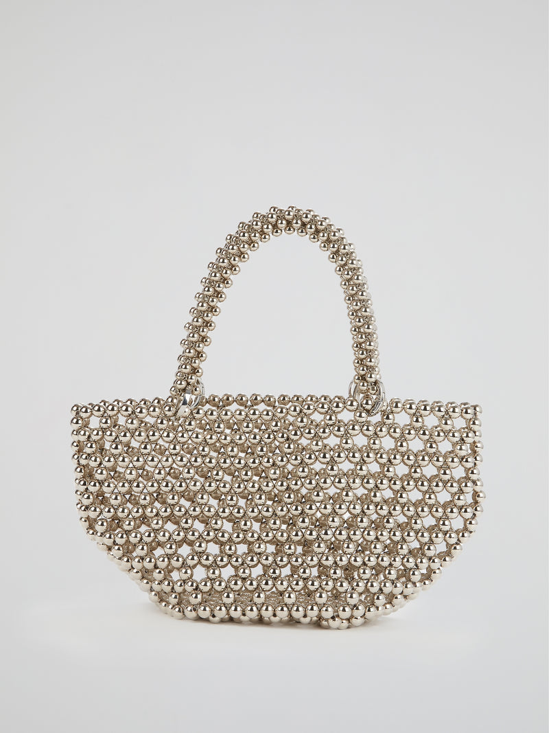 Silver Tako Pearl Beaded Tote Bag