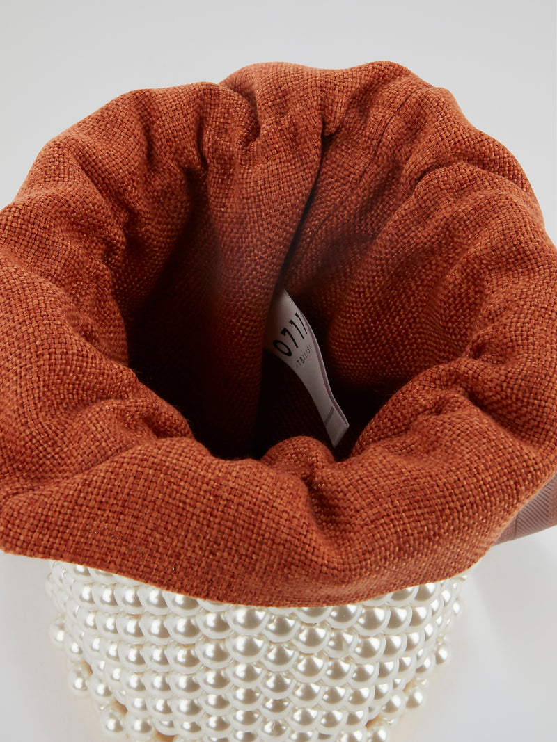 Orange Pearl Embellished Bucket Bag