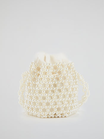White Pearl Embellished Bucket Bag