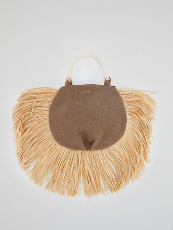 Brown Pearl Beaded Handle Ani Tote Bag