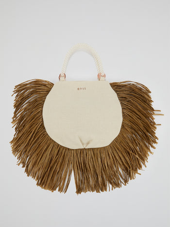White Pearl Beaded Handle Ani Tote Bag