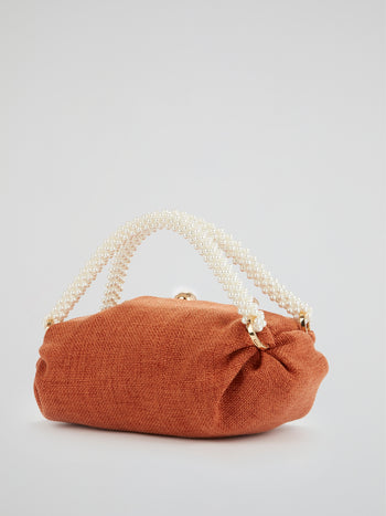 Orange Small Nino Pearl Beaded Handle Tote Bag