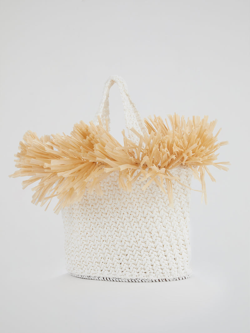 White Malibu Hand Woven Beach Bag