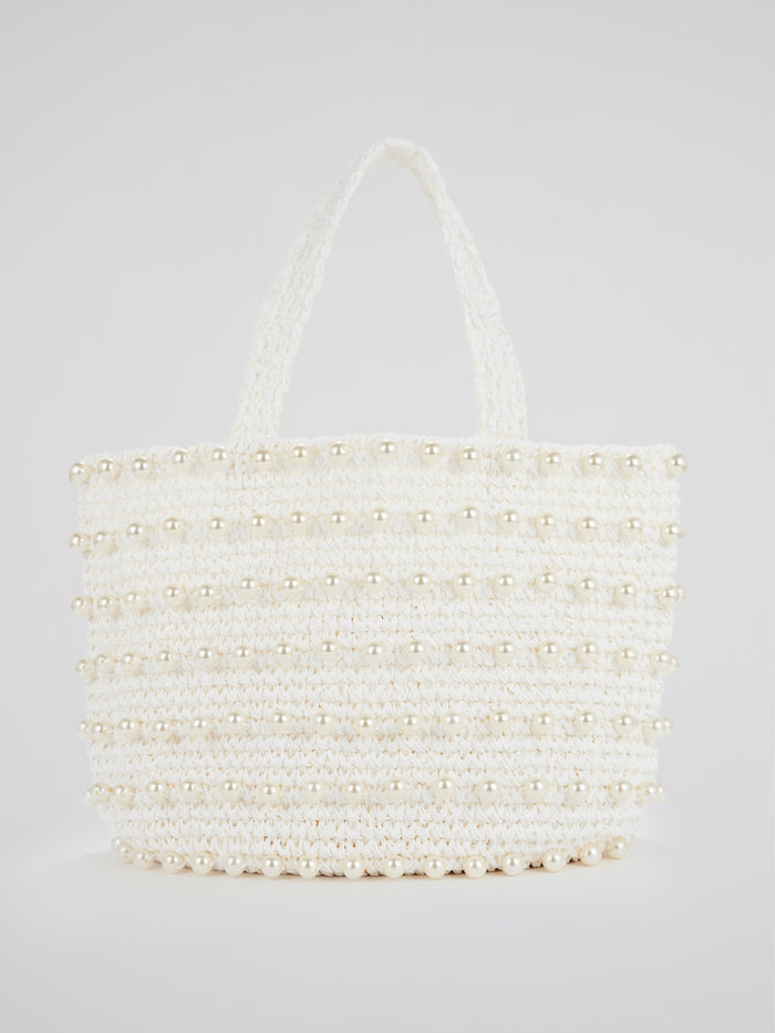 White Malibu Pearl Embellished Beach Bag