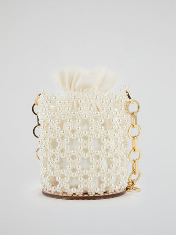 White Pearl Embellished Chain Strap Bucket Bag