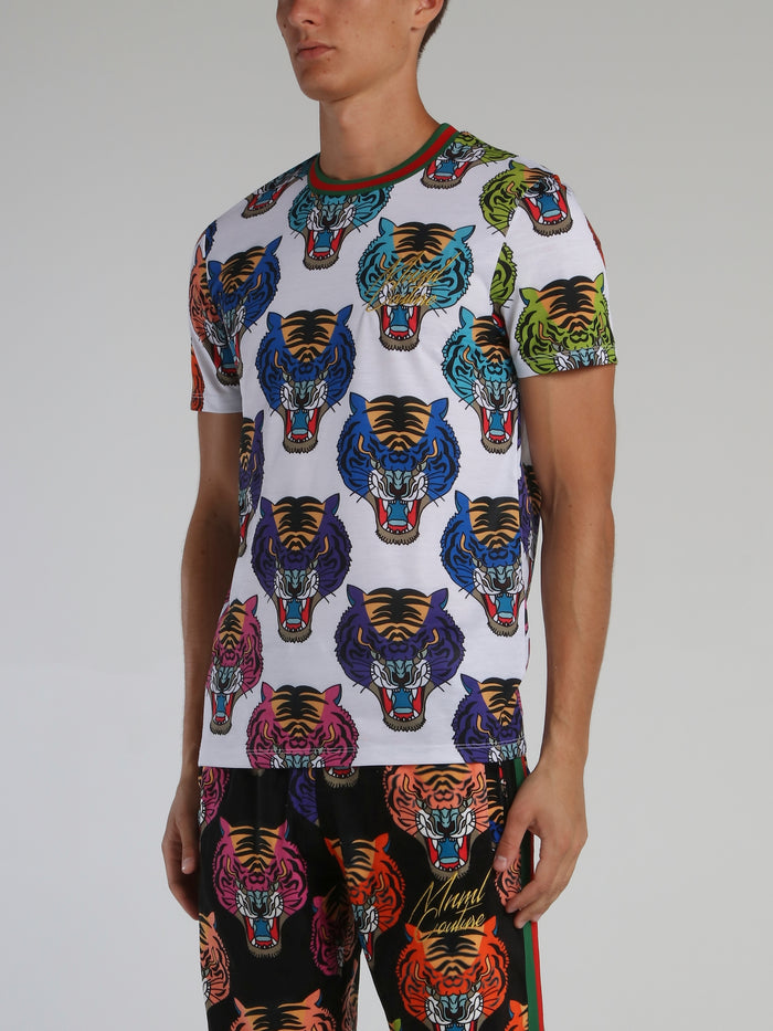 Tiger Face All Over Round Neck T-Shirt
