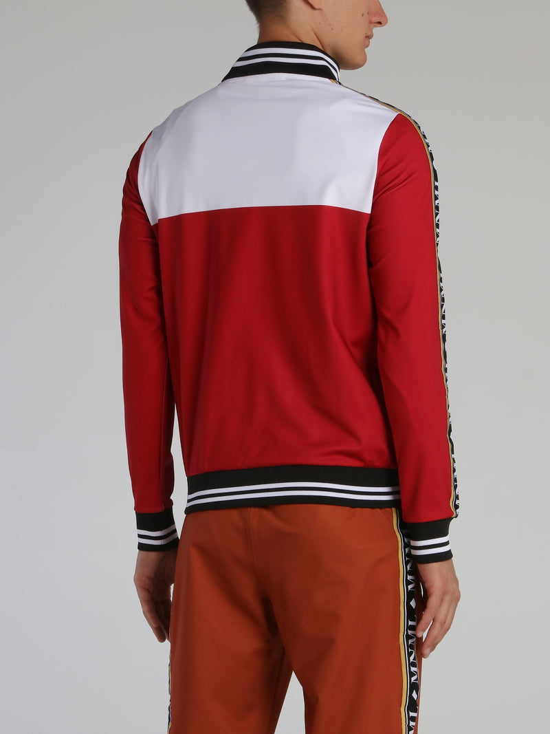 Red Stripe Trim Monogram Sweatshirt