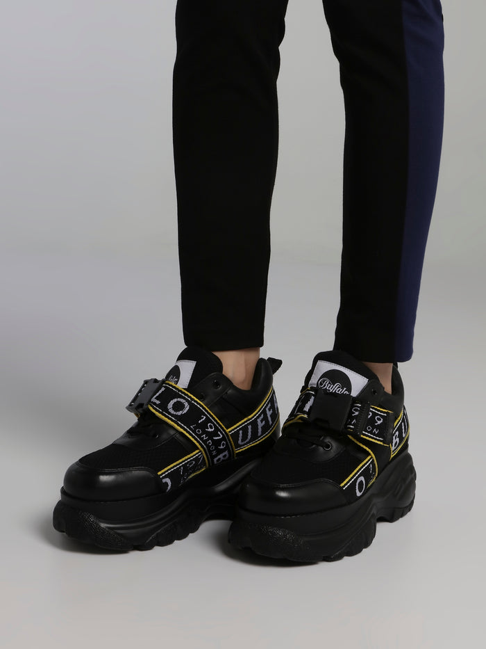 Galip Black Platform Leather Sneakers