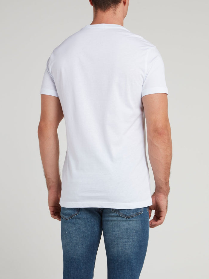White Logo Embroidered V-Neck Shirt