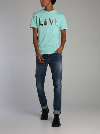 Mint Weapons or Love Statement Crewneck T-Shirt