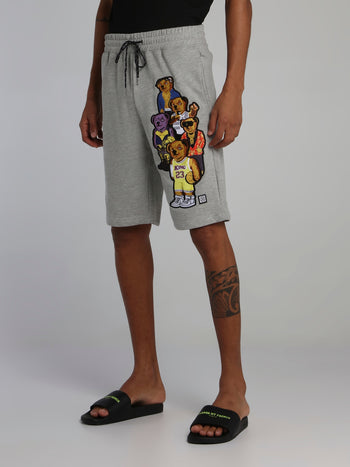 Bear Gang Grey Drawstring Sweatshorts