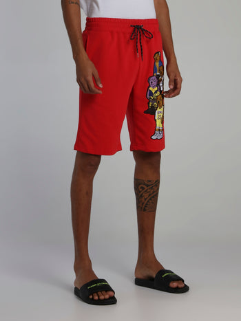 Bear Gang Red Drawstring Sweatshorts