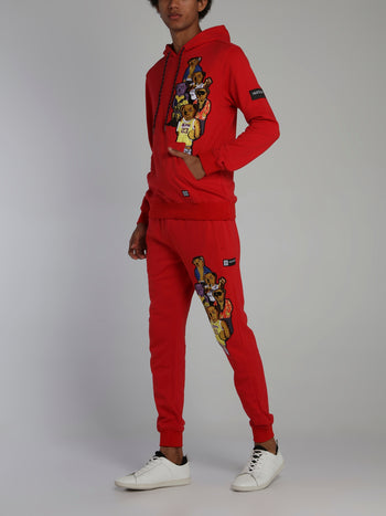 Bear Gang Red Drawstring Jogging Trousers