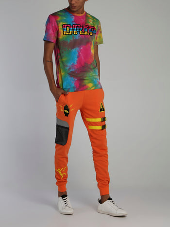 Orange Warning Statement Drawstring Sweat Pants