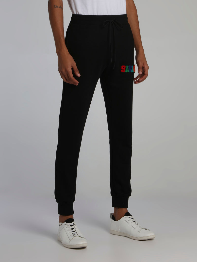 Black Savage Appliquéd Logo Drawstring Active Trousers