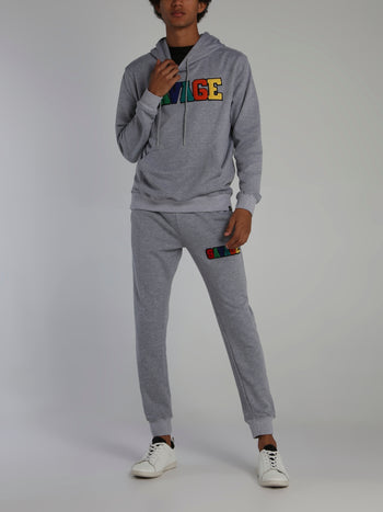 Grey Savage Appliquéd Logo Drawstring Hoodie
