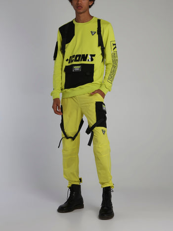 Neon Yellow Icons Tactical Crewneck Sweatshirt