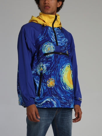 Swirling Sky Hooded Windbreaker
