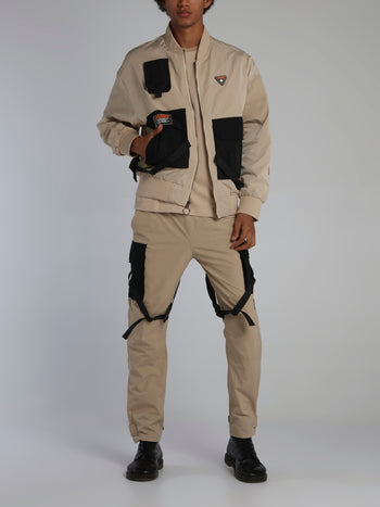 Beige Icons Tactical Flight Jacket