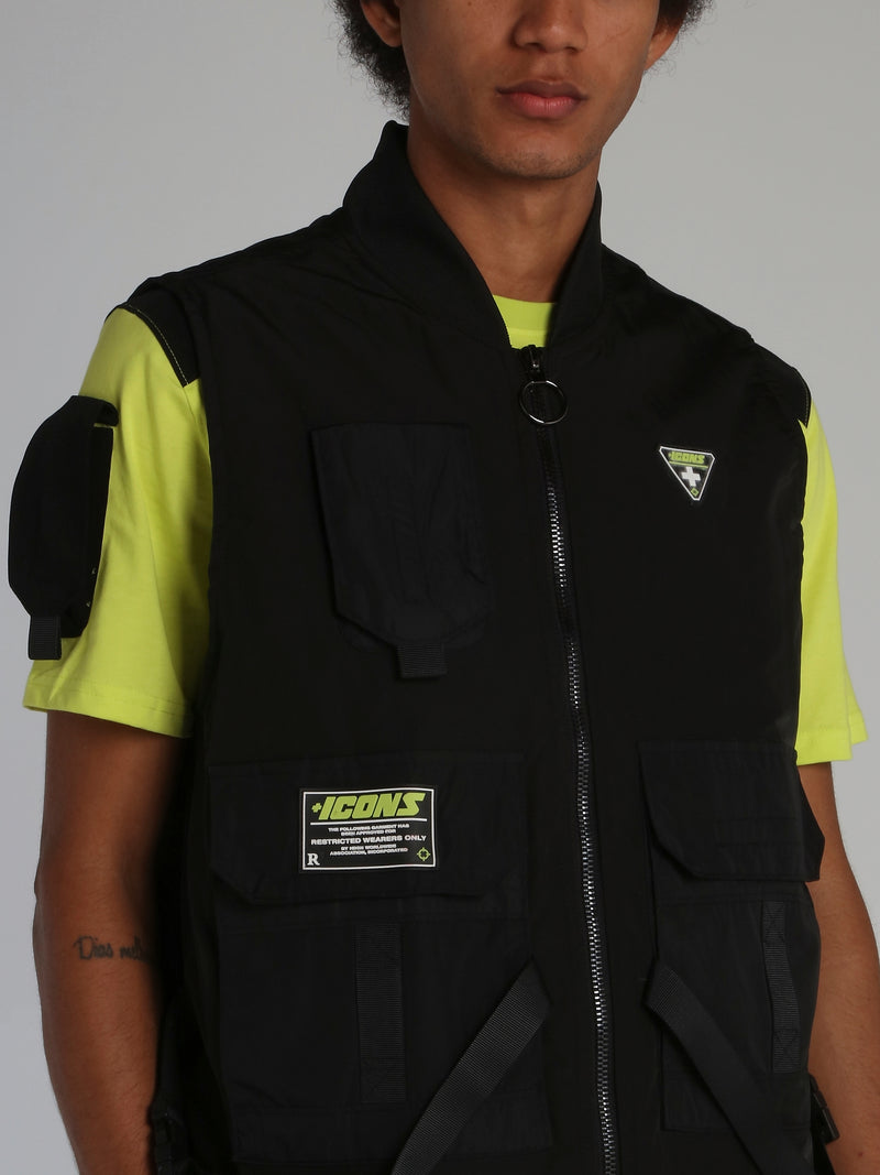 Black Icons Tactical Zip Up Vest