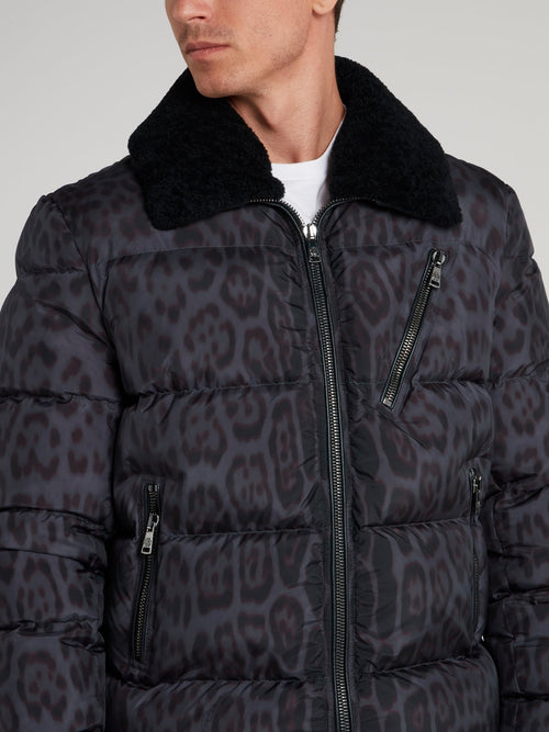 Fur Collar Leopard Print Down Jacket