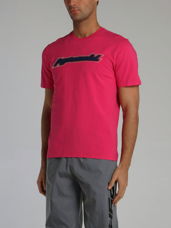 Neon Pink Core 3D Rubber Patch Crewneck T-Shirt