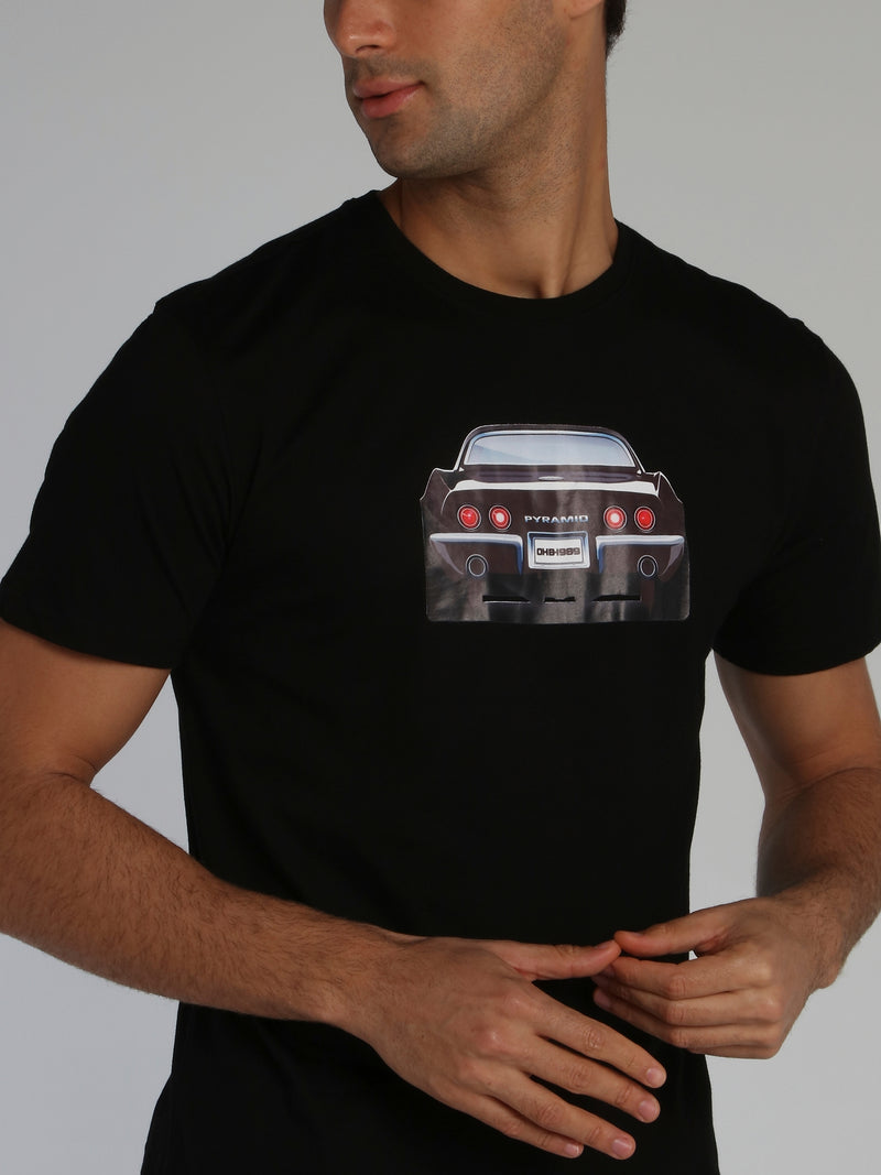 Black Rear View Printed T-Shirt