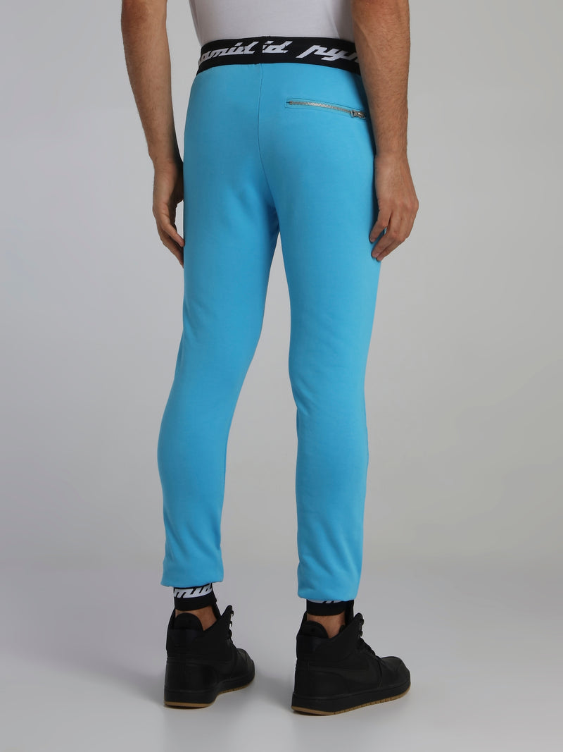Neon Blue Core 3D Rubber Patch Drawstring Active Trousers