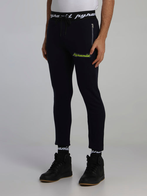 Navy Core 3D Rubber Patch Drawstring Active Trousers