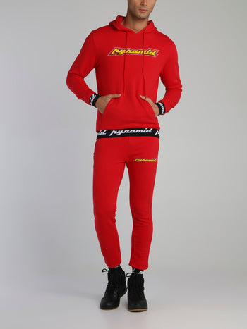 Red Core 3D Rubber Patch Drawstring Active Trousers